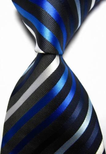 New Classic Stripes Black Blue White JACQUARD WOVEN 100/% Silk Men/'s Tie Necktie
