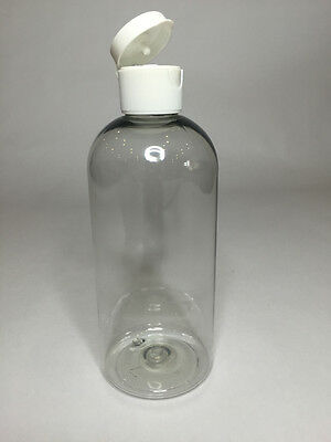 Empty 250ml PET Plastic Clear Boston Bottles And White Flip Top Cap *ANY AMOUNT*