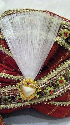 INDIAN BOLLYWOOD GROOM FANCY DRESS BROOCHE FIN FOR TURBAN PAGRI HAT ALLADIN 3COL