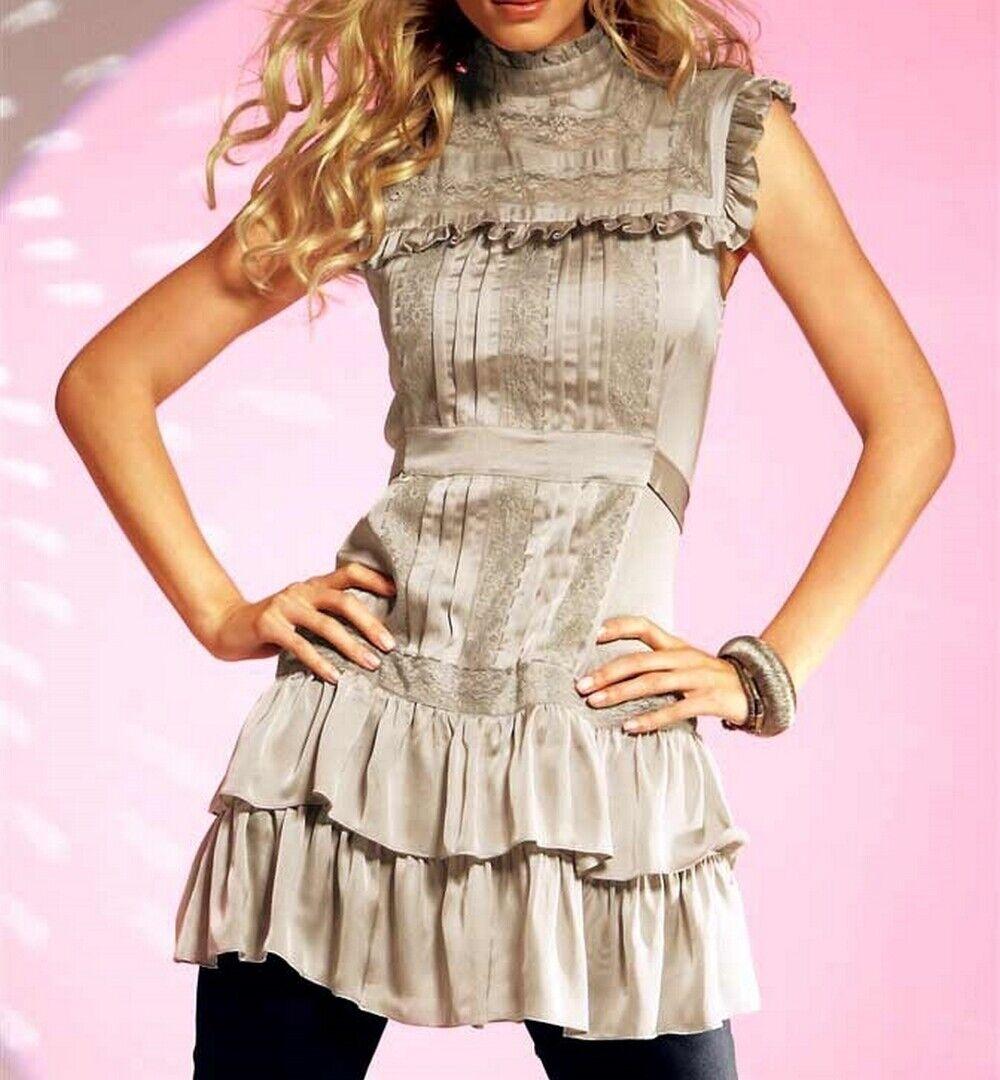 Kleid mit Rüschen, Spitze, Biesen und Passen von Lipsy, Gr 44, puder, 99892286a