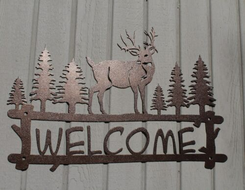 Deer and Trees Welcome Sign Metal Wall Art Home Decor