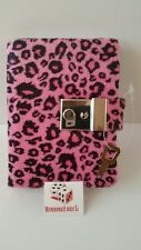 NEW HOT PINK ANIMAL PRINT DIARY WITH A BUILT IN LOCK AND 1 KEY FREE SHIPPING