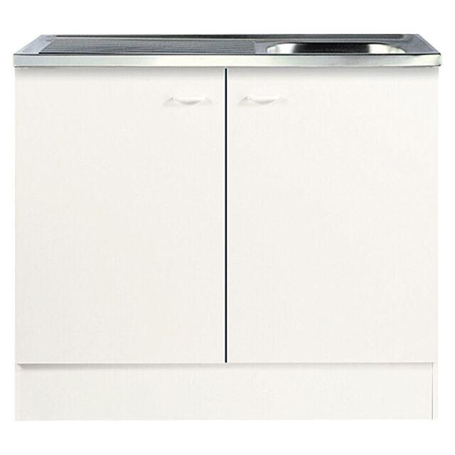 Spülenunterschrank 100cm Küchenschrank Spüle Küche Unterschrank Weiß  Küchenmöbel