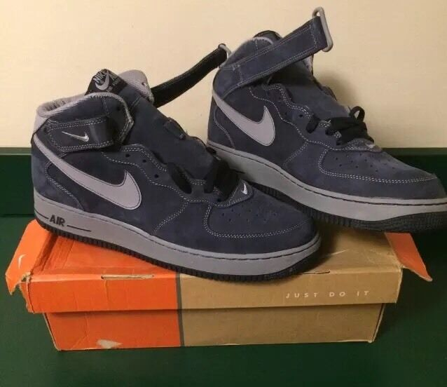 MENS NIKE AIR FORCE 1 MID OBSIDIAN STEALTH SNEAKERS SHOES SIZE 11.5  2005 DS