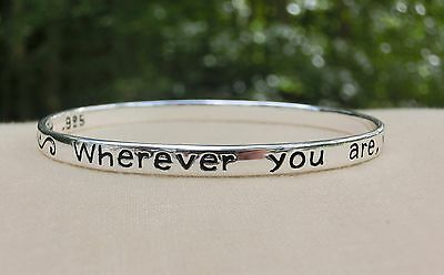 Solid Sterling Silver Bangle Bracelet - You Will Always be in my Heart | Gandhi
