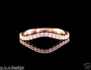 0.22 Carat Genuine Diamond Half Eternity Band French Pave in 14k Rose Gold