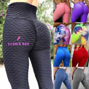 Women High Waist Yoga Pants Anti-Cellulite Scrunch Push Up Leggings Exercise AA