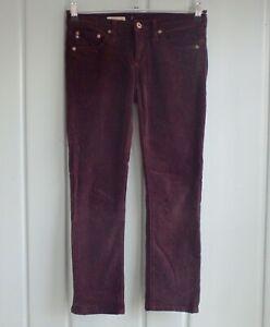 AG-Adriano-Goldschmied-Stevie-Womens-26-Slim-Straight-Purple-Corduroy-Pants