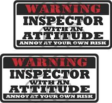 """2 - 3"""" Inspector Worker Warning Tools Auto Motorcycle Decal Hard Hat Sticker WS1"""