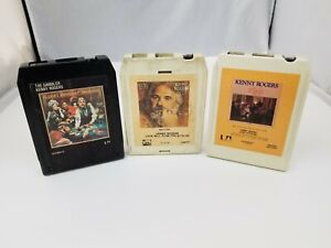 Kenny-Rogers-8-Track-Tapes-Set-of-3-Gambler-Love-Lifted-Me-Love-Will-Turn-You