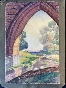 Seillans-Provence-Var-Arche-a-Bridge-Watercolour-Signed-Roussel-France