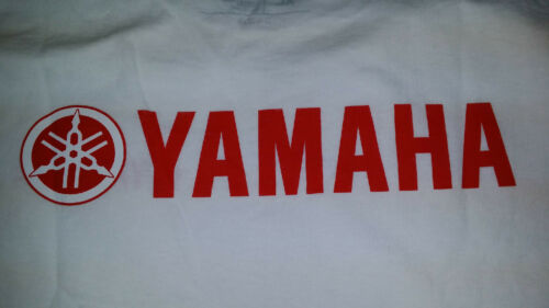 NEW Yamaha Short Sleeve TShirt White with Red Yamaha Logo on Front & Back.