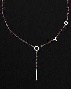 Edelstahl-Halskette-mit-Love-Anhaenger-Kette-Buchstaben-Liebe-Rosegoldfarben-Neu