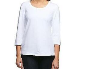 I-31-Denim-amp-Co-Essentials-Perfect-Jersey-3-4-Sleeve-Round-Neck-Top-WHITE-sz-2x