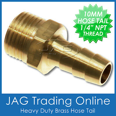 "BRASS 10mm (3/8"") HOSE TAIL BARB FITTING 1/4"" NPT THREAD Outboard/Fuel Tank Line"