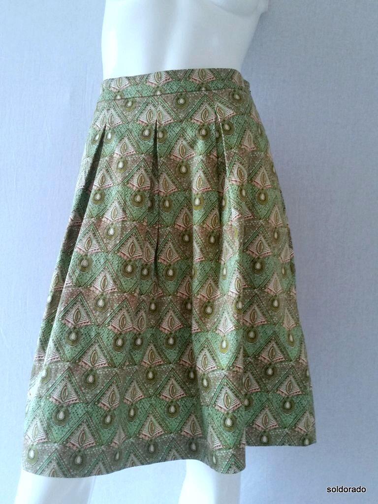 Hallhuber Skirt Pleats Green Multicolour Size 36 New