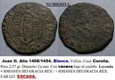 JUAN II año 1406/1454. Blanca. Vellón. Ceca: Coruña (Venera). Peso 2,37 gr.