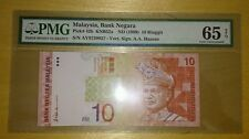 PMG 65 EPQ GEM UNC AAH ALI ABU HASSAN Side Signature RM10 10th Series Banknote