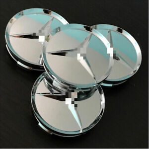 New-Fashion-Mercedes-Benz-Silver-Hub-Cover-75mm-Wheel-Center-Cover-Logo-4pcs