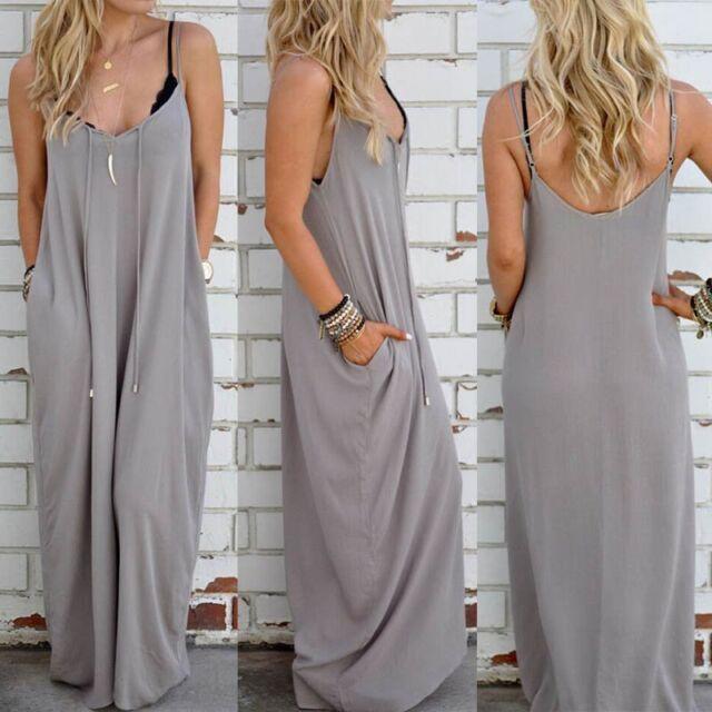Women Summer Boho Long Maxi Evening Party Dress Loose Beach Sundress Full Dress