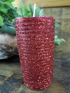 Red Glitter Pillar Candle Christmas