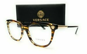 Versace-VE3242-5202-Striped-Havana-Demo-Lens-Women-039-s-Eyeglasses-54mm
