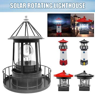 Lighthouse Solar LED Light Garden Fence Outdoor Beacon Rotating Beam Lamp #K