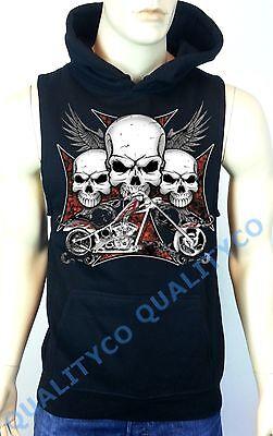 Men's Cross Skull Biker Black Hoodie Sweatshirt classic harley chopper bike vest