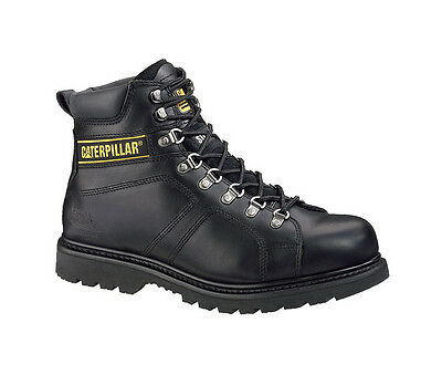 "Caterpillar CAT Mens Silverton Black Leather 6"" Work Boots P73235"