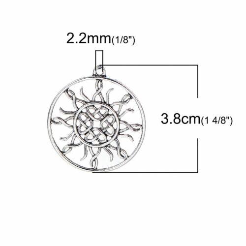 Celtic Sun 38mm Antiqued Silver Plated Charm Pendant C9213-1 2 Or 5PCs