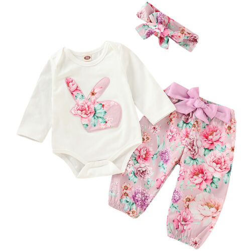 Flower Easter Rabbit Bunny Outfits Romper Bodysuit Pants 3pcs Clothes for Girls