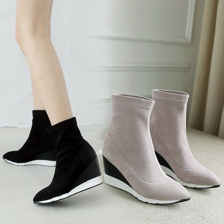 New Women's Ankle Boots Wedge High Heels Winter Suede Pointed Toe Casual shoes