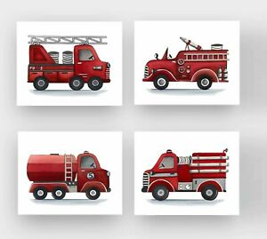 Details About Fire Truck Wall Art Prints For Nursery Bedroom Goes With Bedding