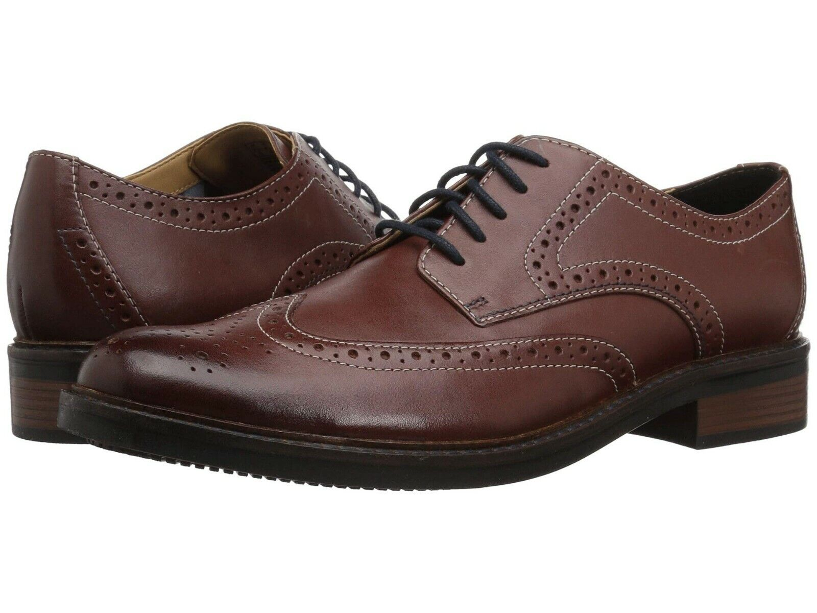 Men's shoes Clarks Bostonian MAXTON WING Leather Wingtip Oxfords 36623 TAN