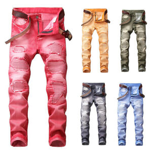 1ef69576724 Image is loading Mens-Distressed-Ripped-Jeans-Moto-Stretched-Denim-Pants-
