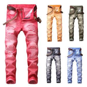 9320441c64c Men s Ripped Skinny Biker Jeans Straight Frayed Slim Fit Denim Pants ...