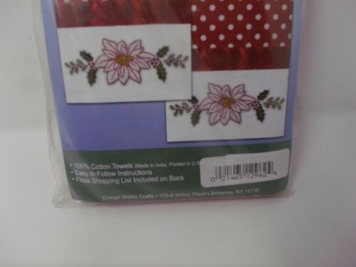 """WHITE POINSETTIA Polka Dot Tobin Stamped Embroidery Accent Towels 18/"""" x 28/"""""""