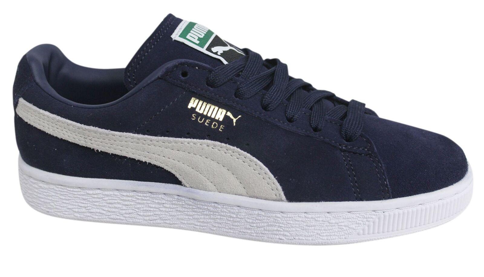 Puma Gamuza Clásico + con Cordones Azul Marino Zapatillas para hombre de cuero 356568 51 D7