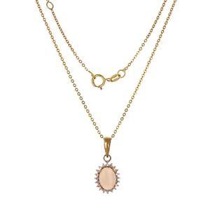 14k-Yellow-Gold-Bezel-Set-Oval-Opal-Diamond-Halo-18-034-Rolo-Chain-Necklace-2-3g