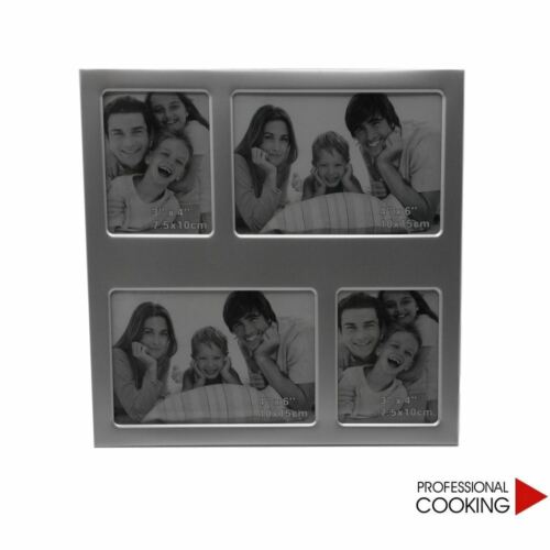 Cornice porta 4 foto multiple in alluminio da appoggio tavolo