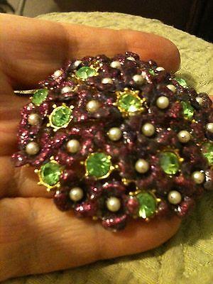 Jewelry Grandmas Estate Vintage Kraft ? Brooch Purple Flowers