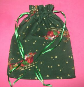 Christmas Gift Bag-Santa & Sleigh-Cloth-Handmade-Draw String Bag   eBay