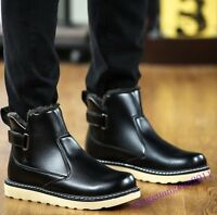 Winter Mens Shoes Fur Lined Pu Leather Slip On Ankle Snow Boots Warm Waterproof