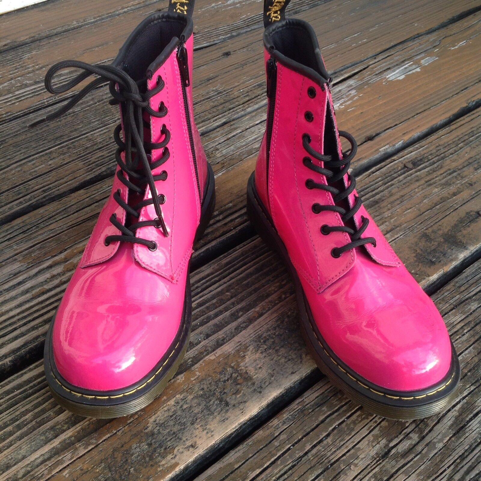Dr Martens Docs Pink Patent Leather Combat Boots Womens 7 UK 5 EUR 38 1460 shoes
