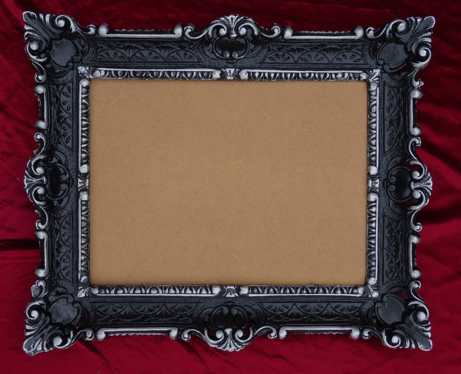 Antique Baroque Picture Frame In Black Silver 56x46 Photo