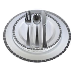 Placas de cena Boda Plástico Desechable & Cubiertos Set, Abertura De Plata oro