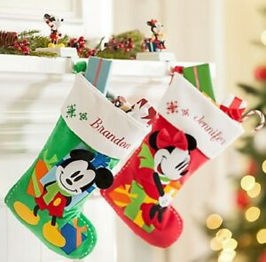 Disney-Store-Minnie-ou-Mickey-Mouse-Chaussette-de-Noel-Rouge-Vert-2015-Neuf
