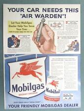 10x14 Original 1942 Mobil Ad YOUR CAR NEEDS THIS AIR WARDEN MOBILGAS SERVICE