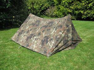Image is loading German-Army-Flecktarn-2-Man-Pup-Tent-Reversible- & German Army Flecktarn 2 Man Pup Tent Reversible Camo / Olive Green ...