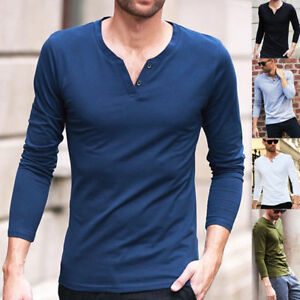 Fashion-Men-039-s-Slim-Fit-V-Neck-Long-Sleeve-Muscle-Tee-T-shirts-Casual-Tops-Blouse